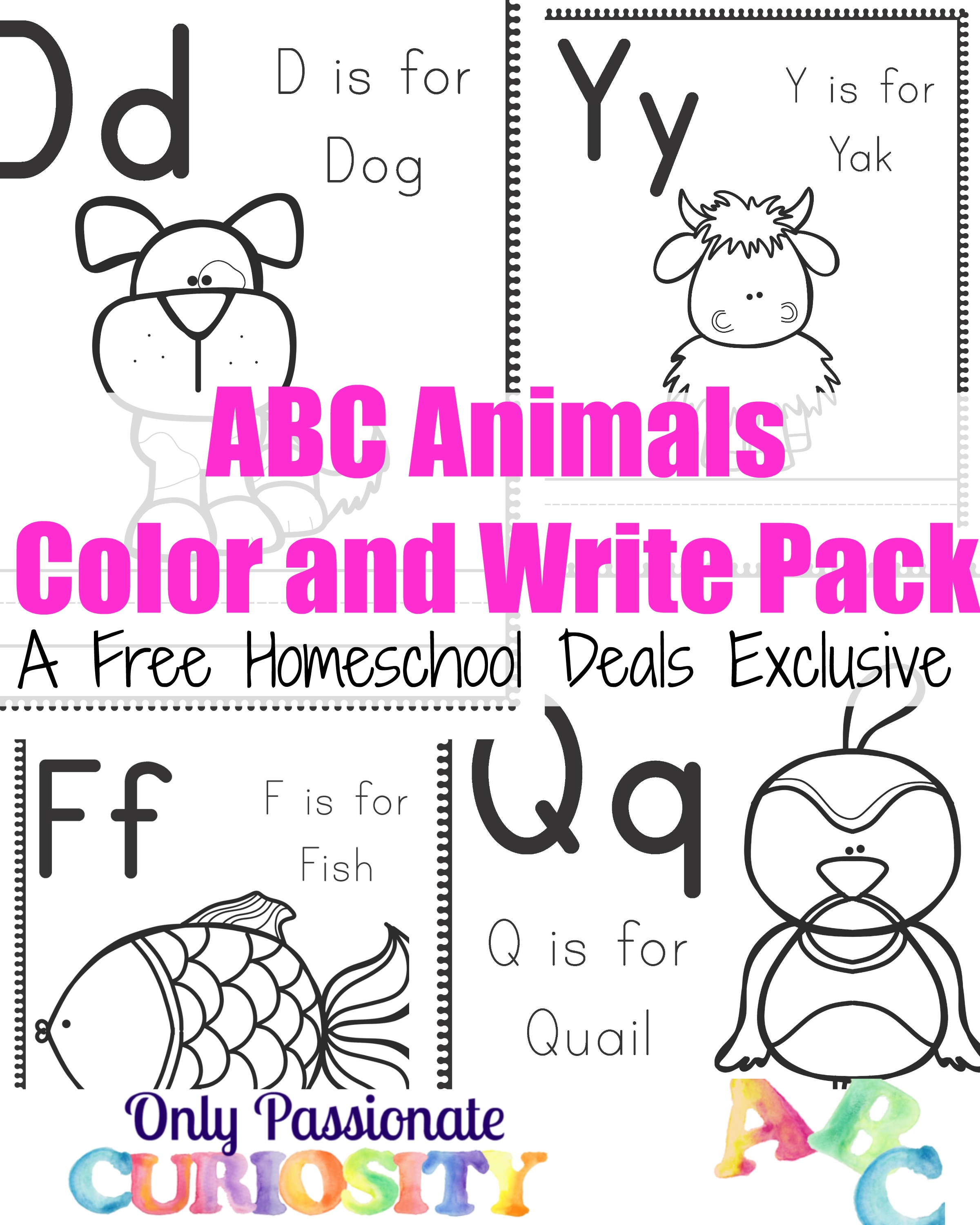 free abc animals color and write pack instant download free