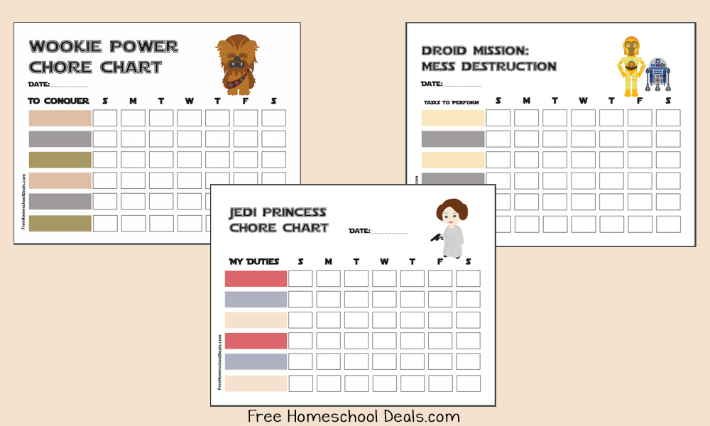 Free Printable Star Wars Chore Charts Instant Download  Free