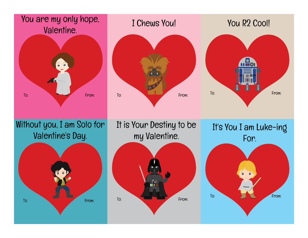 Perfekt Free Printable Star Wars Valentines