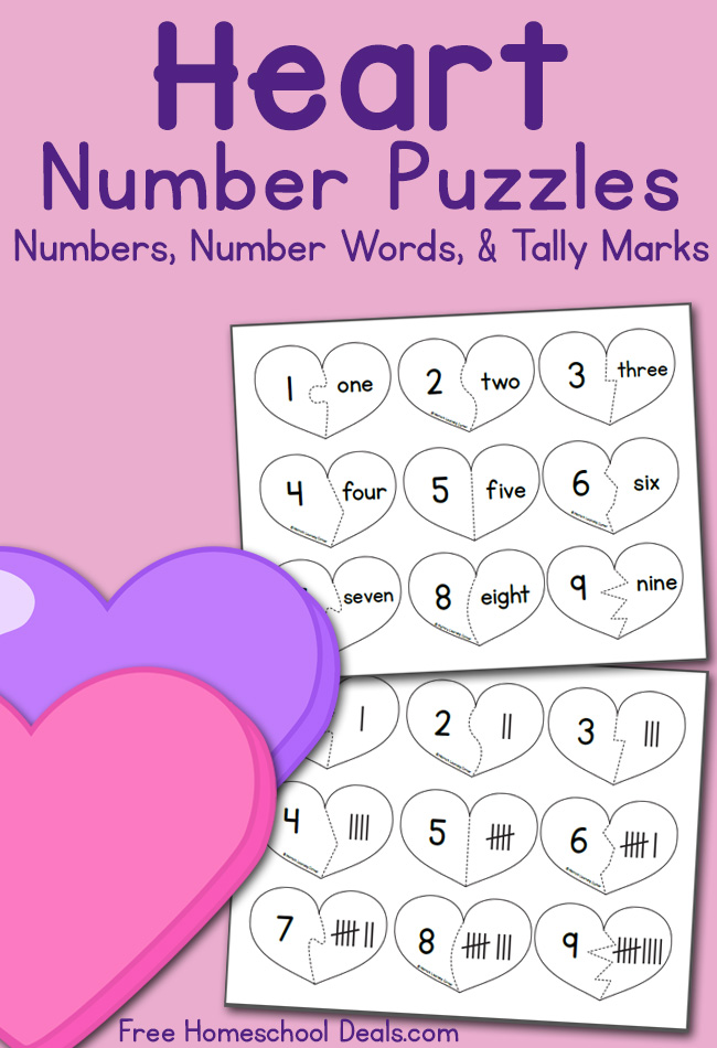 free valentine u0026 39 s heart number puzzle cards  instant