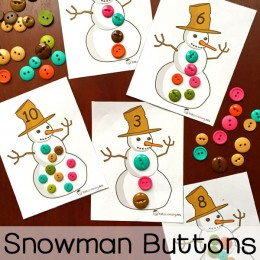 FREE Snowman Buttons Counting Cards