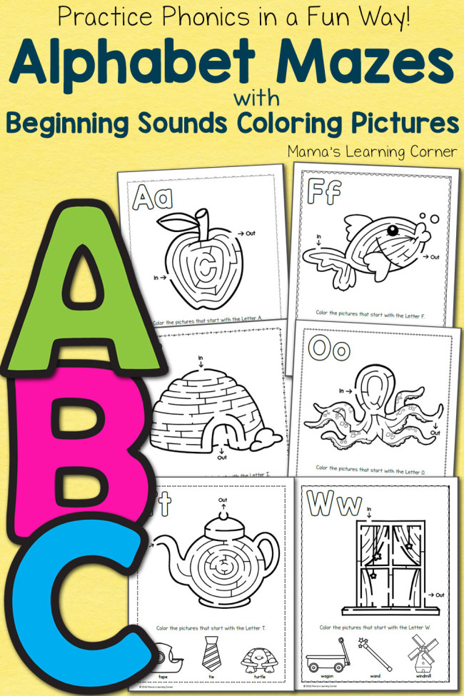 FREE ABC Mazes Coloring Pages