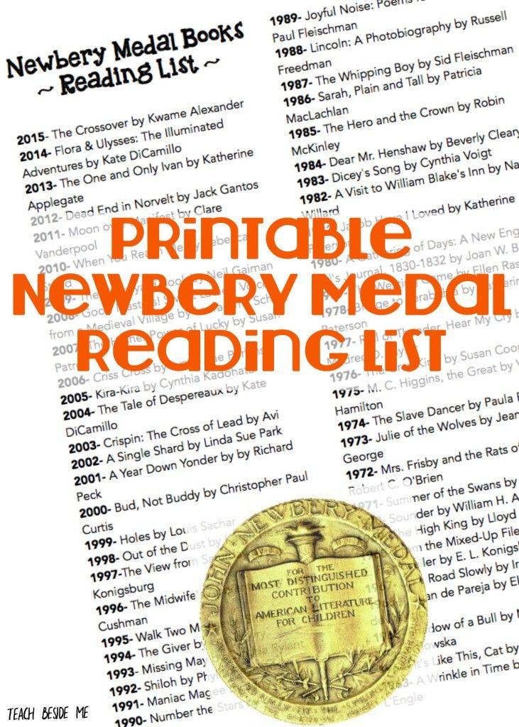 FREE Newberry Metal Printable Reading List : Free ...