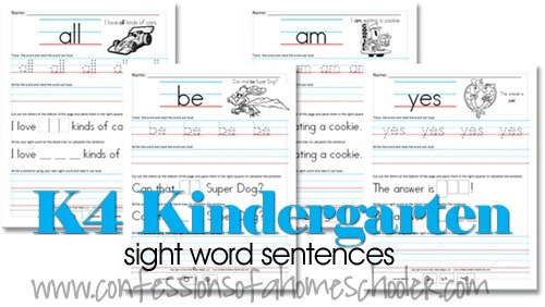 FREE Kindergarten Sight Word Sentence Packs – Free Worksheets for Kindergarten Sight Words