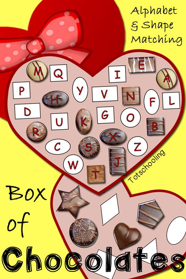 FREE Box Of Chocolates Alphabet Amp Shape Matching Free