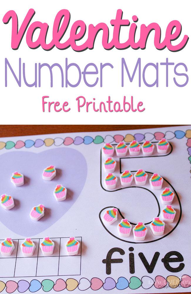 Free Valentines Number Mats Printables Free Homeschool