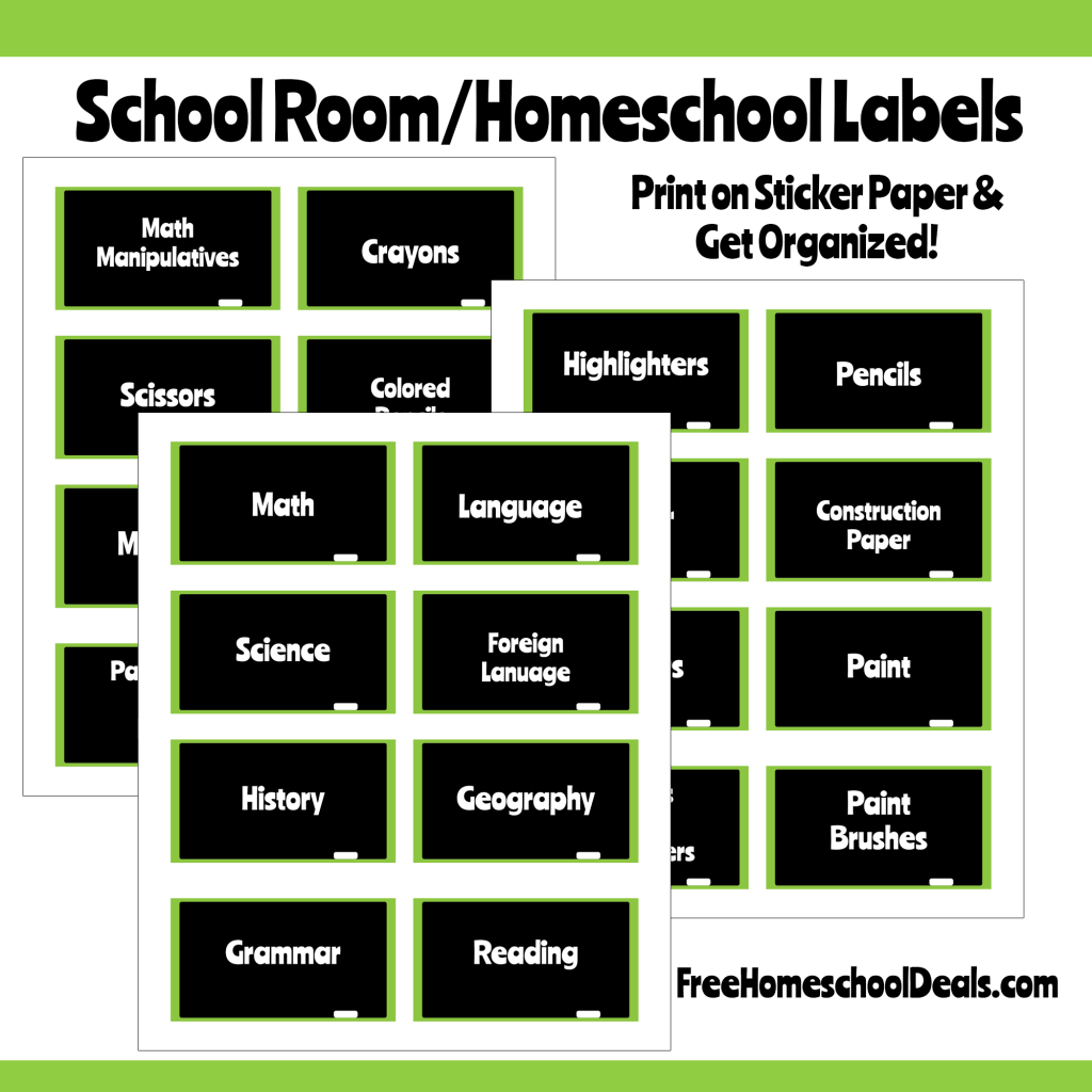 Chalkboard style homeschool room labels instant download for Room labels