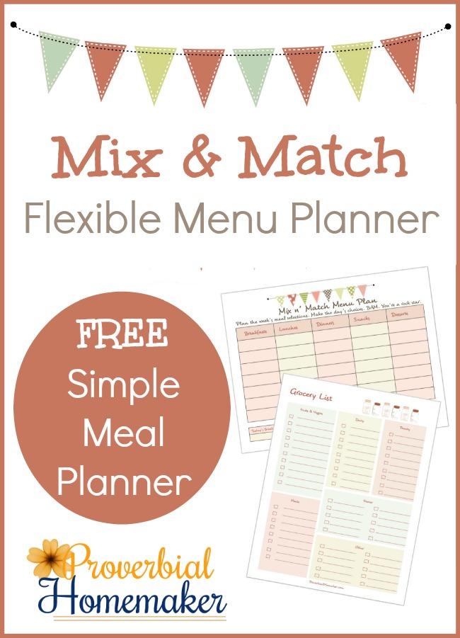 FREE Mix & Match Flexible Menu Planner Printables