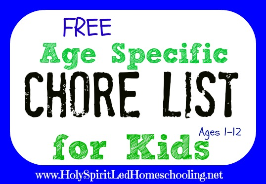 Free Chore List for Kids