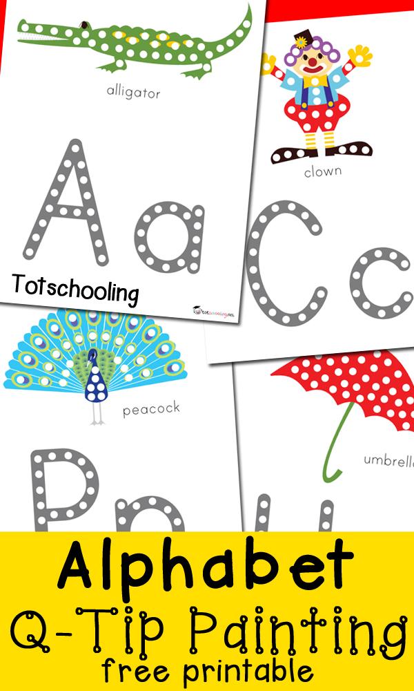 FREE Alphabet Q-Tip Printables | Free Homeschool Deals ©