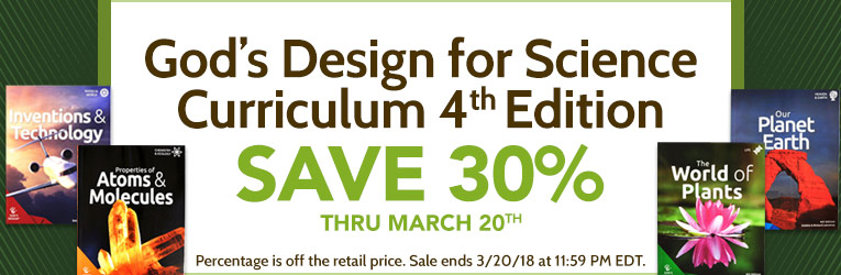 30% Off God's Design for Science Curriculum