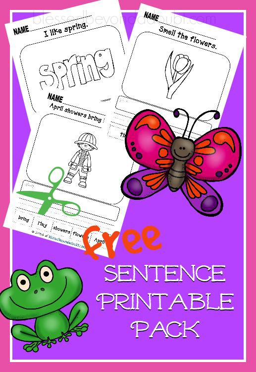 free spring sentence printables free homeschool deals. Black Bedroom Furniture Sets. Home Design Ideas