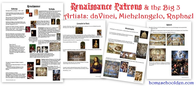 Free Notebook Pages on the Renaissance   Free Homeschool Deals ©