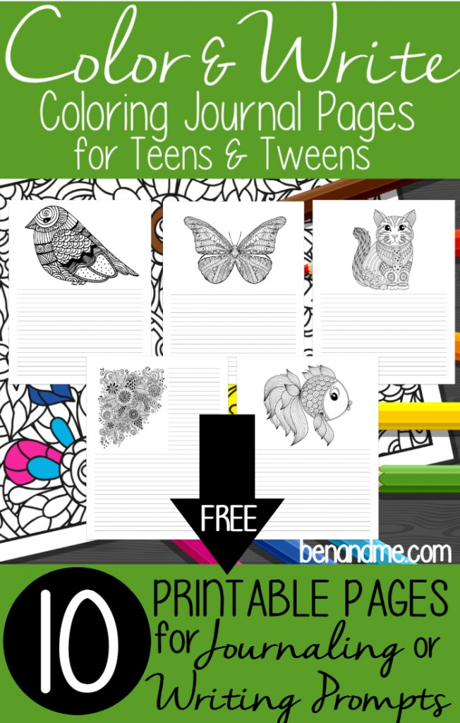 FREE Color Write Coloring Journal Pages for Teens and
