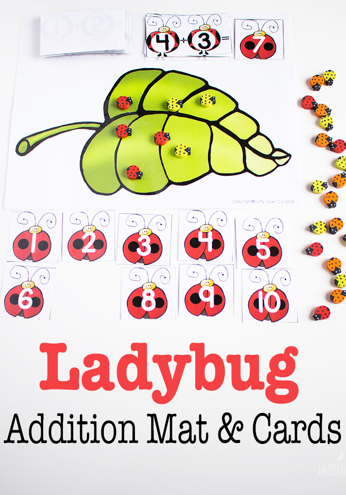 Free Lady Bug Themed Printable For Addition To 10 Free