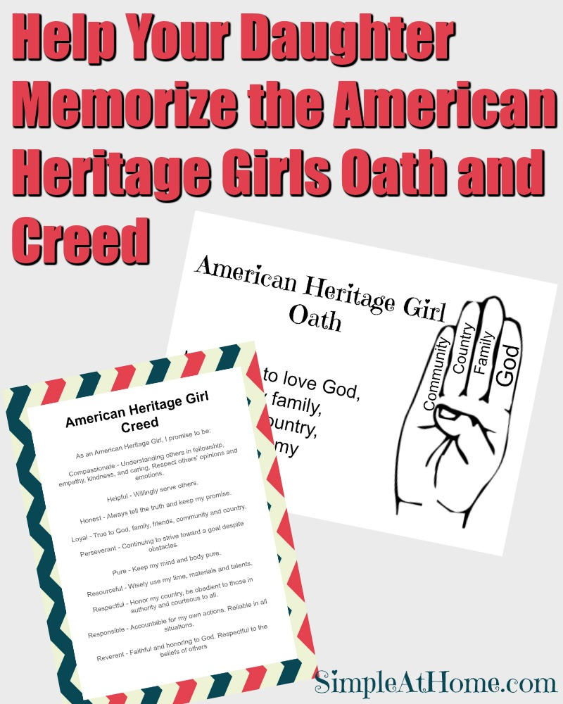 free american heritage girls oath and creed printable cards free