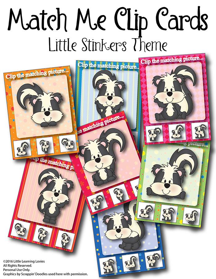 FREE Match Me Skunk Clip Cards | Free Homeschool Deals ©