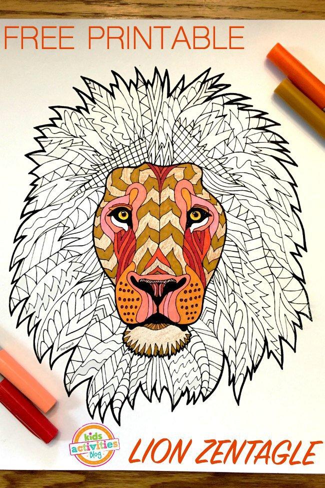 Free Lion Zentagle Printable Free Homeschool Deals