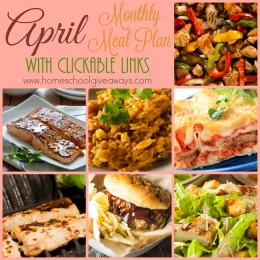 FREE April 2016 Monthly Meal Plan with Clickable Links
