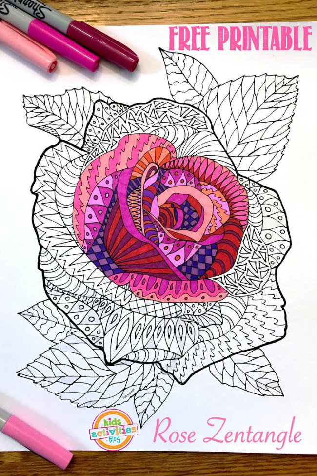 FREE Adult Rose Coloring Pages