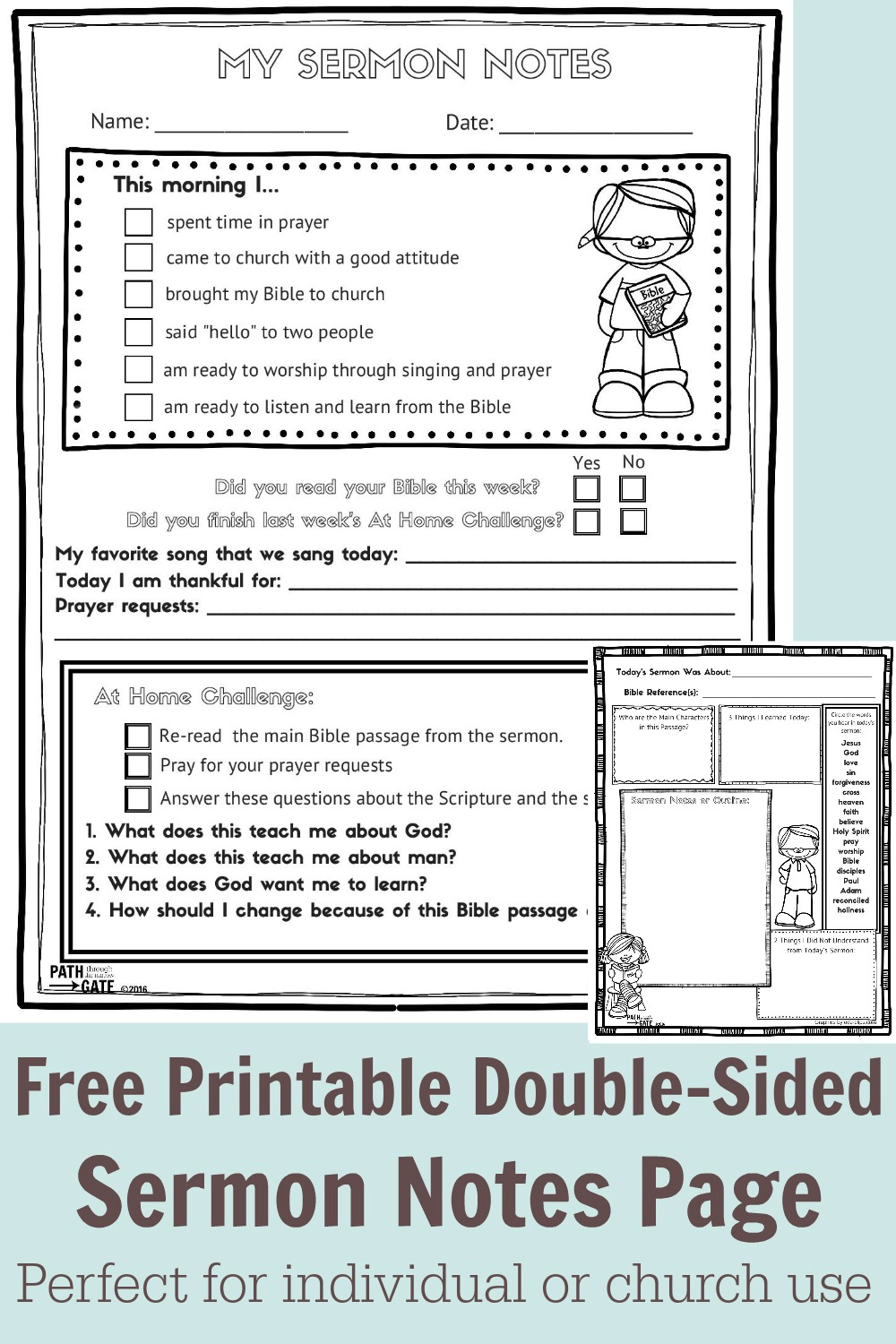 FREE Sermon Notes Activity for Kids | Free Homeschool Deals ©