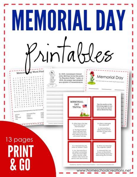 FREE Memorial Day Printables