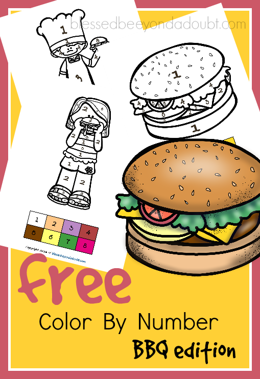 FREE Color By Number BBQ Printables