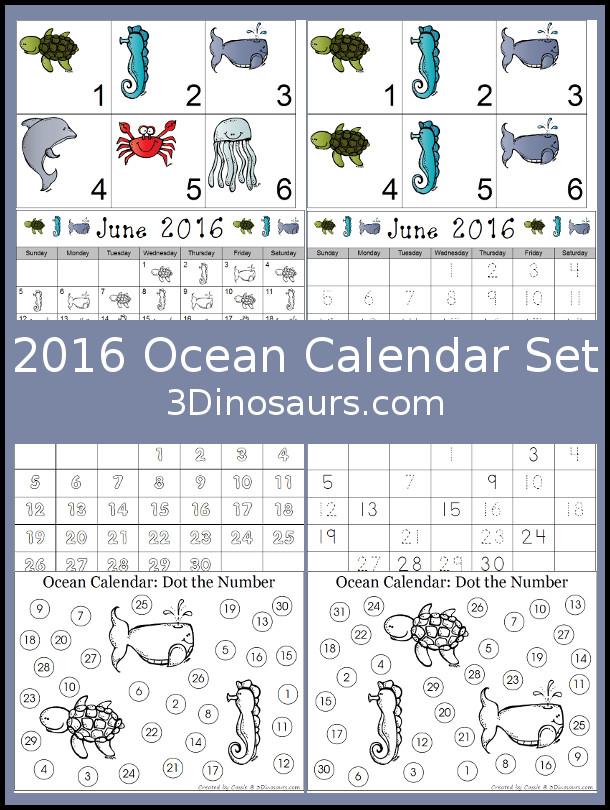 FREE 2016 Ocean Calendar Set