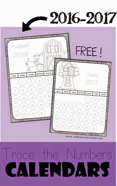 Calendar Practice Worksheets Kindergarten : Free trace the number calendar printables