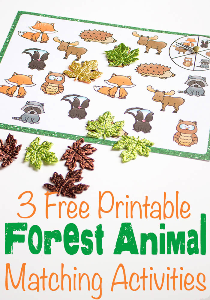 Free Forest Animal Printables Matching Activities Free