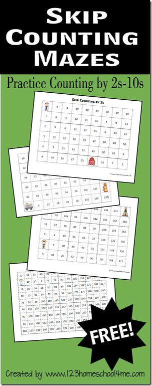 free skip counting mazes for numbers 2 10 free homeschool deals. Black Bedroom Furniture Sets. Home Design Ideas