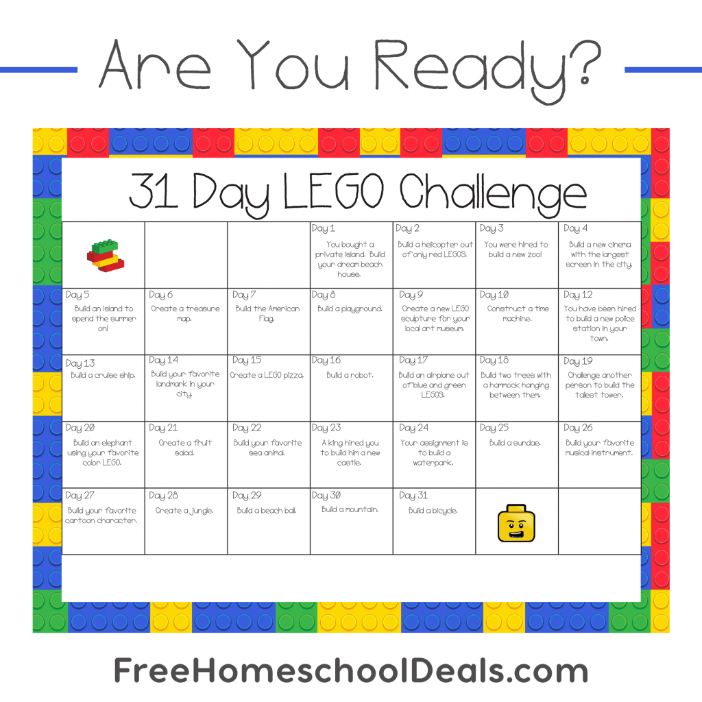 Free Printable 31-Day LEGO Challenge (instant download ...
