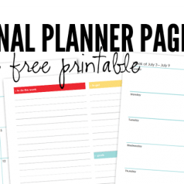 FREE Personal Planner Pages July 2016
