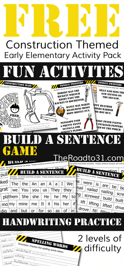 Free Construction Build A Sentence Pack Free Homeschool