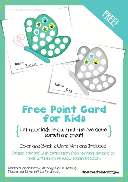 FREE Reward Cards for Kids