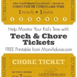 FREE Tech and Chore Ticket Printables