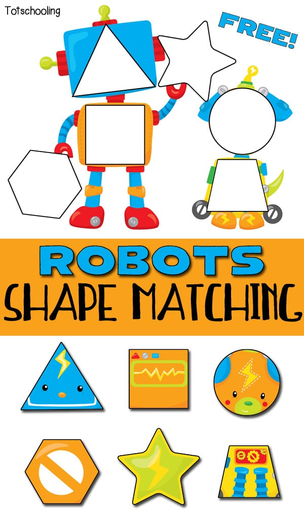free robot themed shape puzzle free homeschool deals. Black Bedroom Furniture Sets. Home Design Ideas