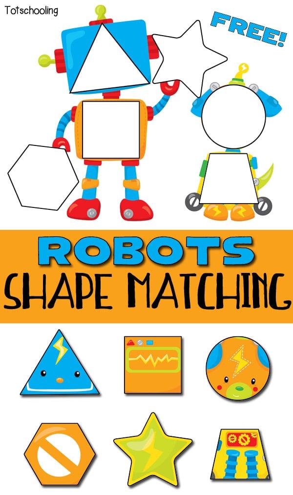 FREE Robotthemed Shape Puzzle