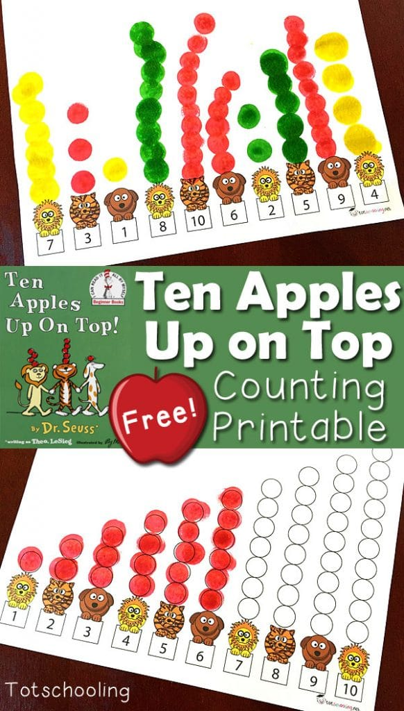 free ten apples up on top printables - Ten Apples Up On Top Coloring Pages