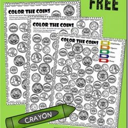 FREE Color the Coin Worksheets