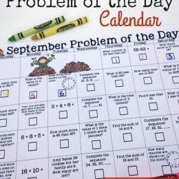 FREE September Math Calendar of the Day