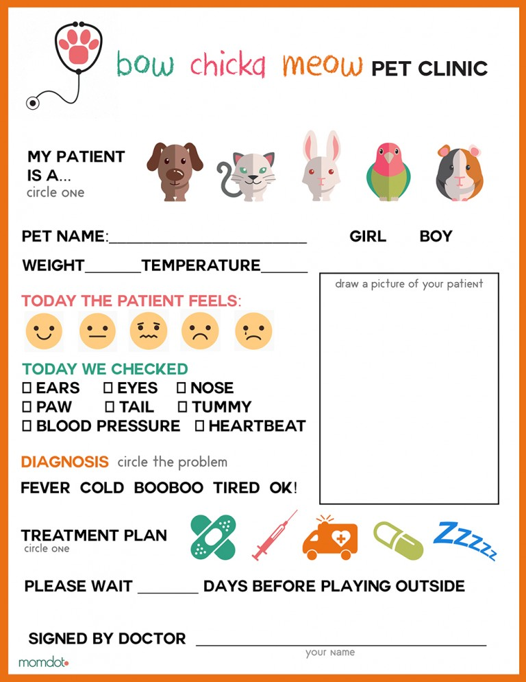 free pretend play vet clinic pages