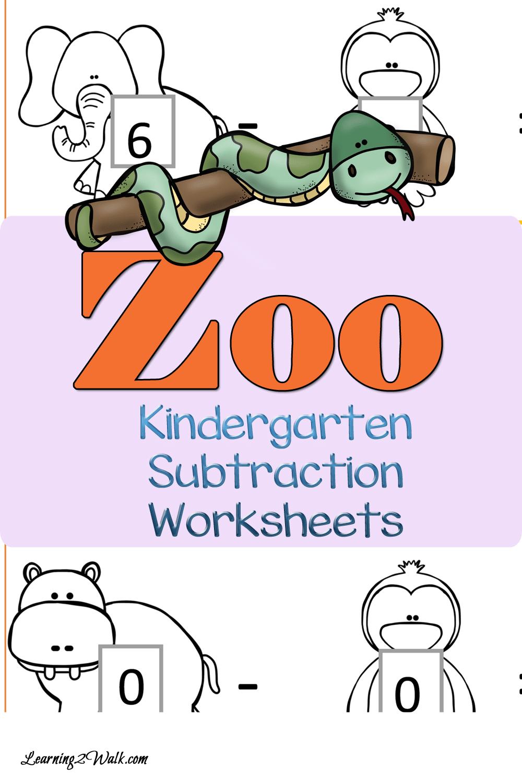 worksheet Zoo Worksheets free zoo subtraction worksheets for kindergarten homeschool deals