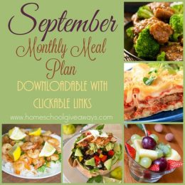 FREE September 2016 Monthly Meal Plan