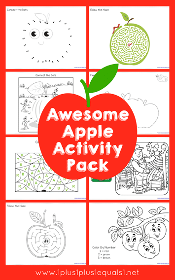 Free Printable Apple Worksheets : Free apple themed activity pack homeschool deals