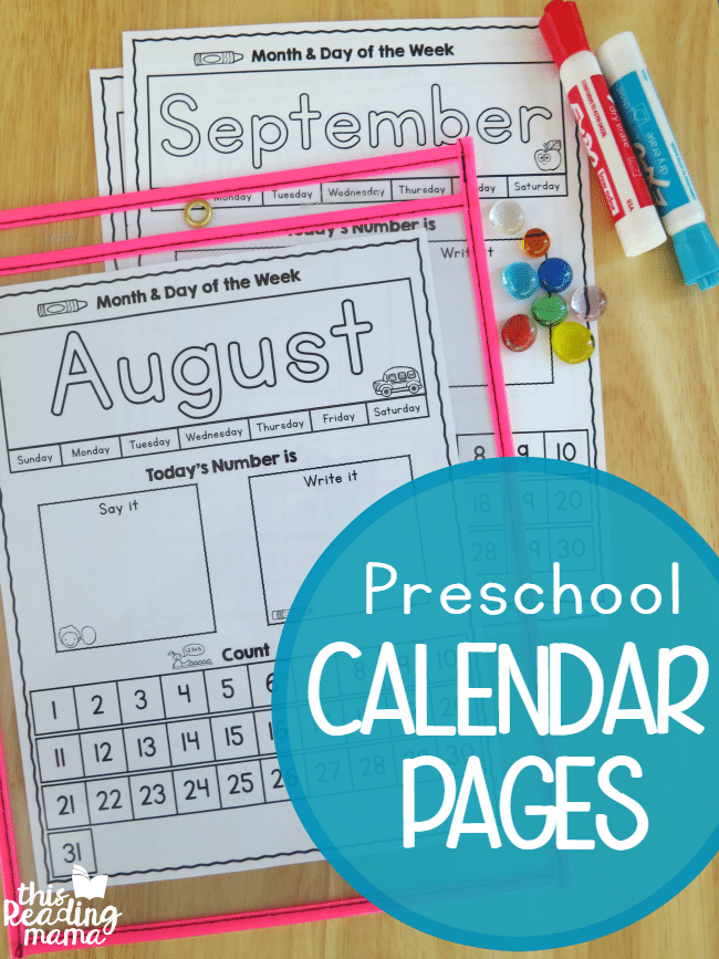 Kindergarten Calendar Sheets : Free preschool calendar pages homeschool deals