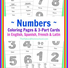 FREE Number Coloring Pages in English, Spanish, French and Latin