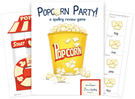 Free Popcorn Party Spelling Game Printables