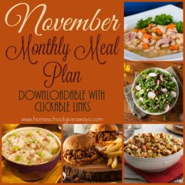Free November Monthly Meal Plan