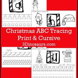 Free Christmas Themed Print & Cursive Handwriting Worksheets